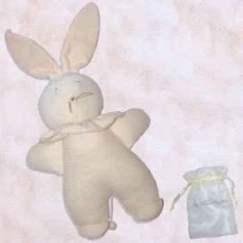 Les Petites Marie - Peluche doudou Lapin musical Nid d\'abeille