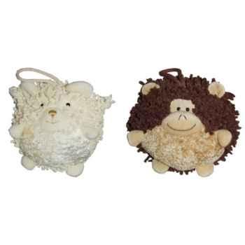 Les Petites Marie - Collection Boule, Lot de 2 boules Mouton et Singe