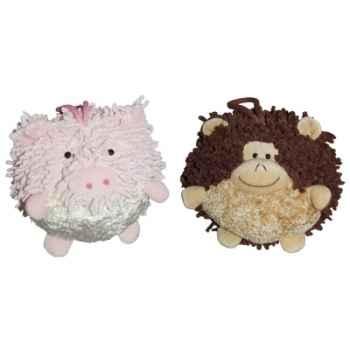 Les Petites Marie - Collection Boule, Lot de 2 boules Cochon et Singe