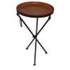 Petite table ronde en cuir SolxLuna pliable -PN9095
