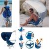 Chaise de plage sac à dos avec canopy anti UV Kelsyus à 2 positions colori bleu argent -80012